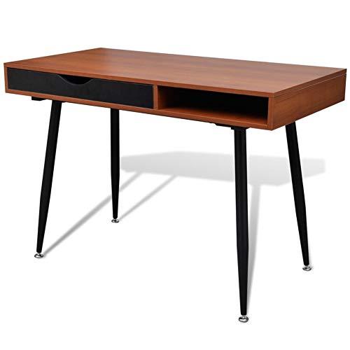 Mesa de ordenador de escritorio con patas de acero, mesa de trabajo para PC moderna, estación de trabajo con 2 cajones para dormitorio, salón, oficina, marrón, 110 x 55 x 76 cm