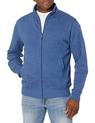 Amazon Essentials Men's Standard Full-Zip Fleece Mock Neck Sweatshirt, Blue Heather X-Large