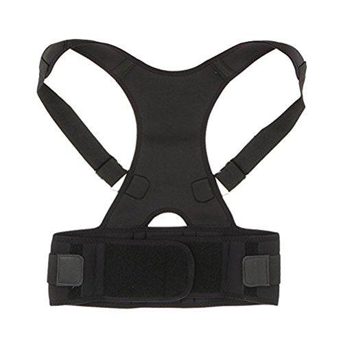 ROSENICE Corrector de Postura Espalda Faja para Espalda Lumbar Soporte de Espalda Ajustable para Hombre Mujer Negro Talla M
