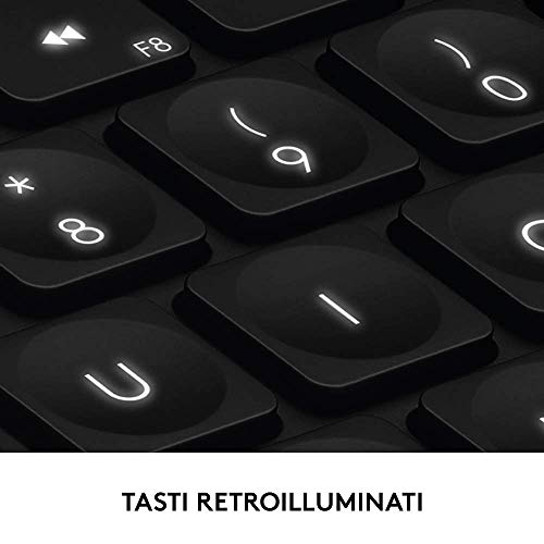 Logitech Craft Tastiera Wireless Illuminata con Manopola Controllo Creativo, Wireless/Bluetooth 2.4 GHz, Multidispositivo, Tasti Retroilluminati Automatici, PC/Mac/Laptop, Layout Italiano QWERTY