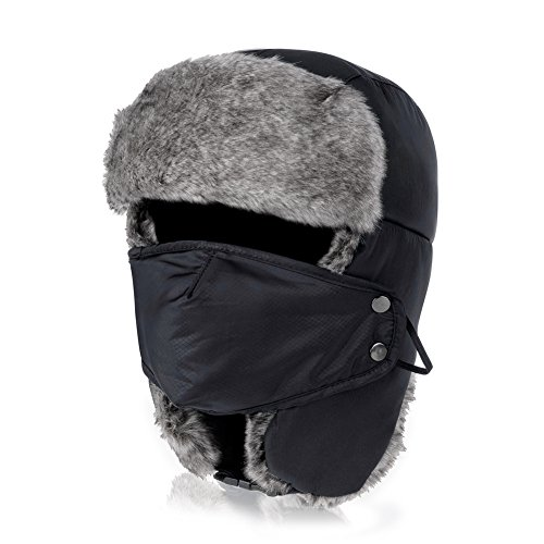 VBIGER Trooper Trapper Hat Winter Windproof Ski Hat with Ear Flaps and Mask Warm Hunting Hats for Men Women Black