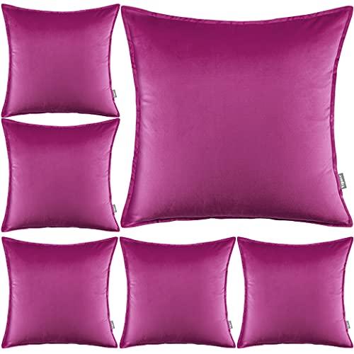 Yzpacc Juego de 6 fundas de almohada de terciopelo con bordes a medida decorativos cuadrados para sofá cama (45 x 45 cm) (solo fundas de almohada, sin relleno), color violeta