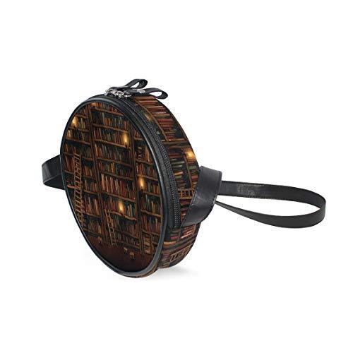 Ameok-Design Bücherregal Vintage Schultertasche Umhängetasche Multifunktion PU Leder für Shoppingreisen rund