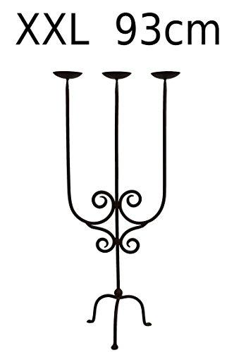 Oosterse kandelaar kandelaar Kaddour 93 cm groot 3 armig | Marokkaanse metalen kandelaar als roestige tuindecoratie in tuin of vloer kroonluchter voor kaarsen in de woonkamer