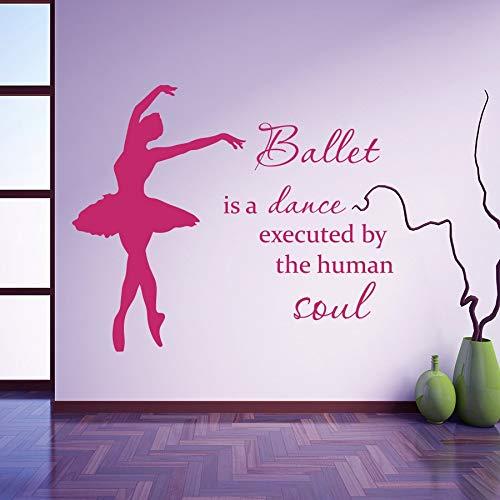 Vinyl Wandtattoo Ballett ist von menschlichen Seele Kunst Ballerina Mädchen Schule Klassenzimmer Wandaufkleber 55cmx66cm gemacht