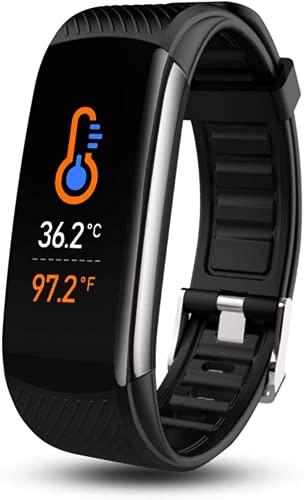 Reloj inteligente Fitness Tracker con termómetro de temperatura corporal Oxígeno en sangre, Monitor de presión arterial, monitor de sueño (negro)