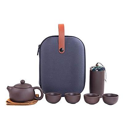 Zisha tea set 6-piece set, portable Zisha tea set, handmade Zisha porcelain teapot and cup, traditional Chinese Kung Fu teapot (1pc teapot, 4pc teacup, 1pc tea pot)