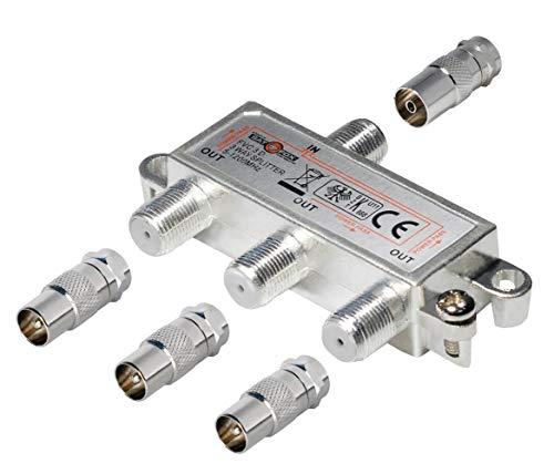 3-Fach TV-Verteiler mit Koax-Adaptern; für Kabel-TV; 1 Eingang - 3 Ausgänge; Profi - Qualität für HDTV ; mit Rückflusssperre und Entkopplung; Metall-Gussgehäuse