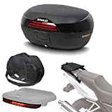 Sh46boluhe263 - Kit fijacion y Maleta baul Trasero + Bolsa Interna + luz de Freno Regalo sh46 Compatible con Honda Forza 125 2015-2017