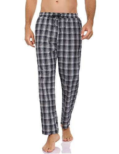 Hawiton Herren Schlafanzughose Lang Kariert Pyjamahose Freizeithose Loungewear Nachtwäsche Sleep Hose Pants aus 100% Baumwolle Blau+Weiß M