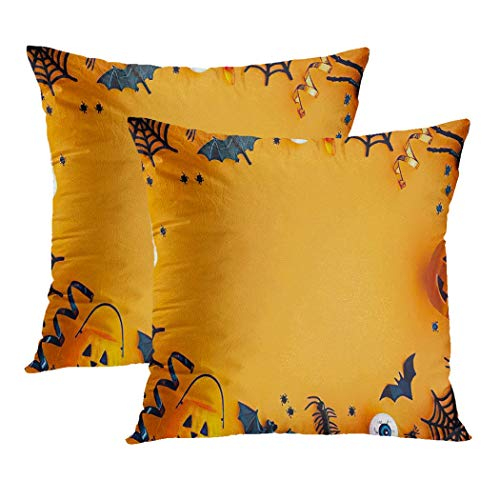 Y·JIANG Halloween Candies Cushion Cover, Halloween Party Flatlay Candy Orange Object Overhead Bat Soft Velvet Cushion Case Couch Cover Pillowcase for Sofa Chair Bedroom, 18 X 18 Inch, 2PCS