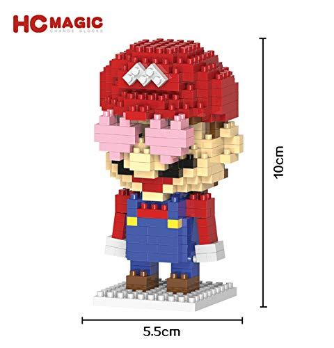 HC Magic Figura Luigi Super Mario Bros Juego Bloques de construccion tamaño 10 - 12 cm DIY Mini Building Puzzle Juguete niños colección