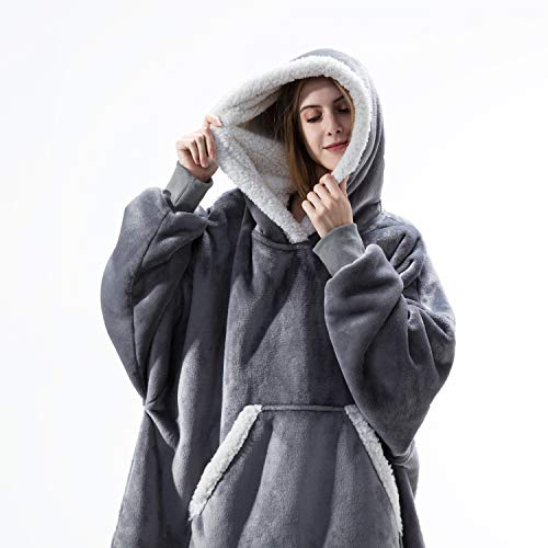 Bedsure Sherpa Sweatshirt Blanket, Wearable Blanket Hoodie, Plush Fleece Blanket Sweatshirt with Sleeves and Pockets for Men, Women and Adults, Gifts for Families, Grey, Standard Size 34x38 inches