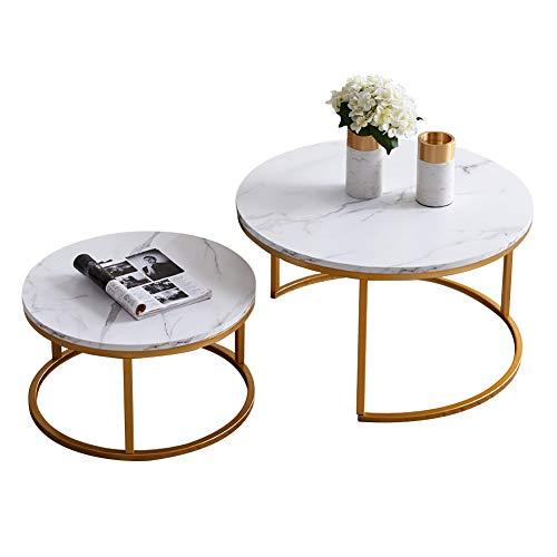 Jenki Runder Couchtisch, Kaffeetisch, Satztisch im Wohn- und Schlafzimmer, Retro und einfach, zweiteiliges Set, groß: L80x B 80xH45 cm, klein: L60x B60x H33CM (Golden, Marmor)