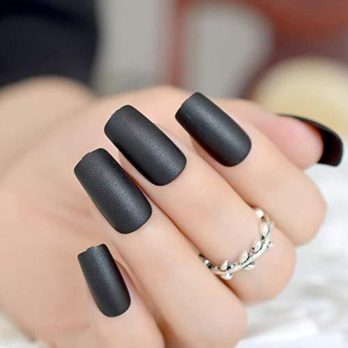 CSCH Faux ongles Classique noir mat ongles carré haut dépoli faux ongles pleine couverture pressé artificielle dame doigt artificielle nail art décoration