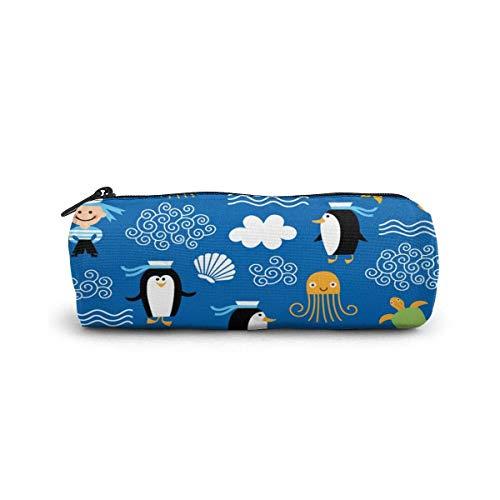 IOPLK Kulturbeutel runde Federmäppchen Kosmetiktasche Federmäppchen Pencil Case/Cosmetic Bag,Cat Flower Embellishment Canvas Stationery Stylish Simple Pencil Bag