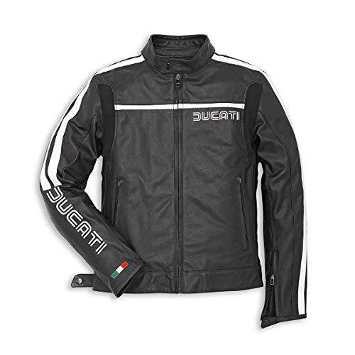 Ducati 80s Chaqueta de Cuero para Hombre Negro Perforado - 54