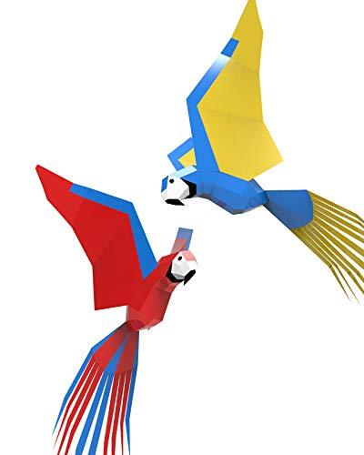 Oh Glam Home Kit DIY Guacamayos Volando (Colgar Techo) Papercraft Kit 3D Escultura Origami 3D Puzzle 3D PRECORTADO