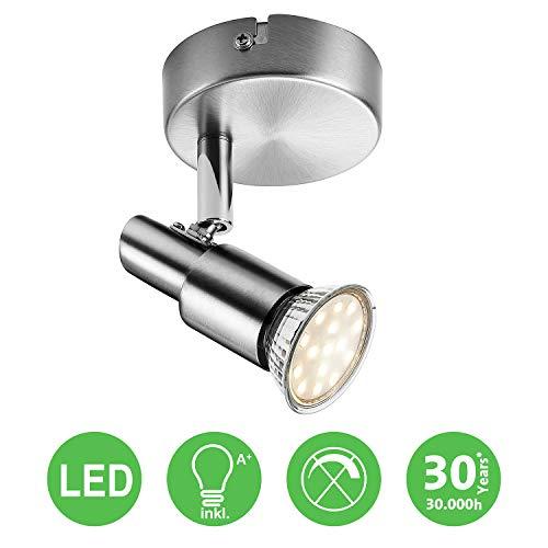 LED Deckenleuchte Deckenlampe, 1-flammig Dreh- und schwenkbar 3W GU10 230V IP20 Metall Warmweiß, für Küche Wohnzimmer Schlafzimmer