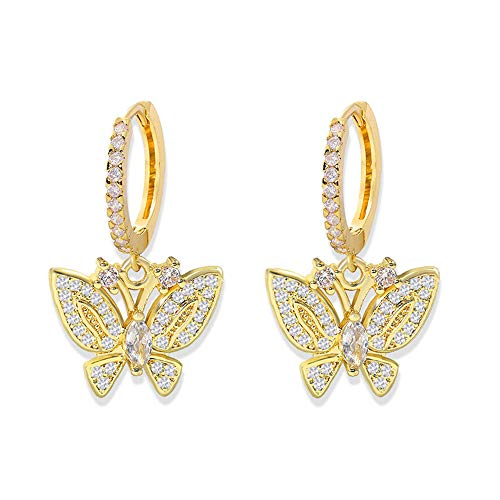 Butterfly Crystal Rhinestone Cubic Zirconia Post Delicate Hoop Drop Dangle Earrings Iced Out Dainty Shiny Set for Women Girl Jewelry Gifts Punk Cute Charm Sparkling-Big Butterfly
