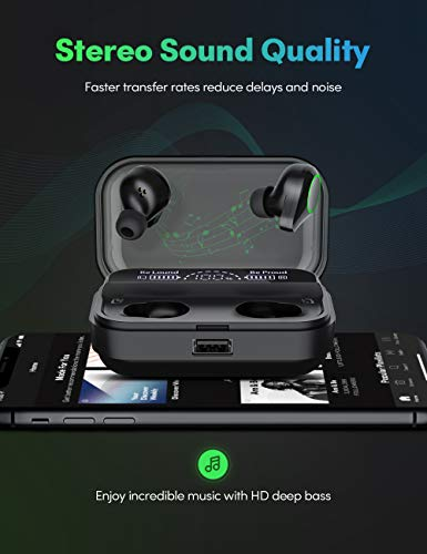 Wireless Earbuds, Kissral Bluetooth 5.0 Headphones with 4000mAh Charging case LED Battery Display 130 Hrs Playtime IPX7 Waterproof in-Ear Built-in Mic True Wireless Earbuds for Workouts 2