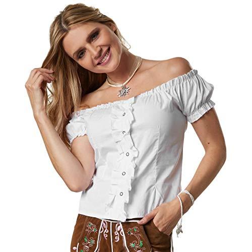 dressforfun 900622 Trachtenbluse mit Carmen Ausschnitt, Knopfleiste und Schnürung am Rücken, Kurzarm, weiß - Diverse Größen - (XXL | Nr. 303129)