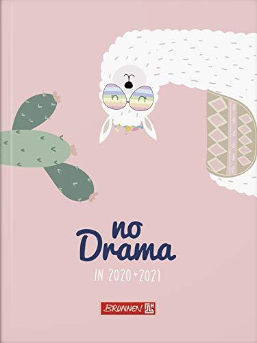"""BRUNNEN 1071710031 """"Lama Drama"""" Tageskalender/Schülerkalender 2020/2021, 1 Seite = 1 Tag, Sa. + So. auf einer Seite, Blattgröße 12 x 16 cm,A6 , Broschur-Einband"""