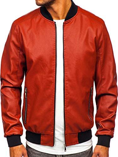 BOLF Herren Lederjacke Kunstlederjacke Bikerjacke Übergangsjacke Steppjacke Kapuze Motorradjacke Pilotenjacke Fliegerjacke Bomberjacke Stehkragen Casual Style J.Boyz 1147-1 Orange L [4D4]