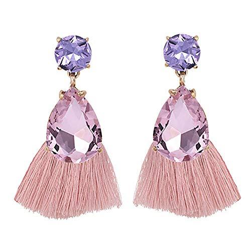 XCWXM Bohemian style ladies big tassel earrings vintage gothic zircon crystal pendant earrings-Pink1