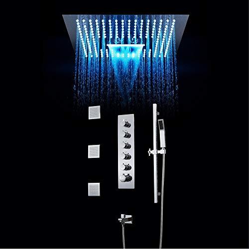 WHSS Ducha cromada de calidad oculta con temperatura constante, 64 colores, LED de alta calidad, cortina de ducha con rociador lateral para ducha, barra de elevación de 400 x 400 mm, cabezal de ducha
