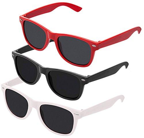 Nerd Sonnenbrille im Stil Retro Vintage Unisex Brille - Boolavard TM (Schwarz + Weiß + Rot Tönung)