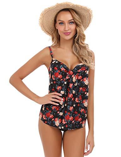Akalnny Damen Einteiler Badeanzug Sexy Rüschen V Ausschnitt Push up Monokinis Bauchweg Einteiliger Bademode Swimsuit Bikini Tankini(Red Rose,XXL)