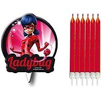 7 Velas de Ladybug para tarta de cumpleaños ( 6 rojas + 1 decorada) - Verbetena 016000874