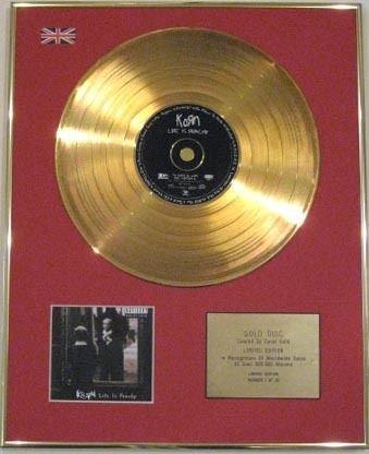 Century Music Awards Korn Ltd EDT CD 24 Karat Gold Scheibe Life is Pfirsichy