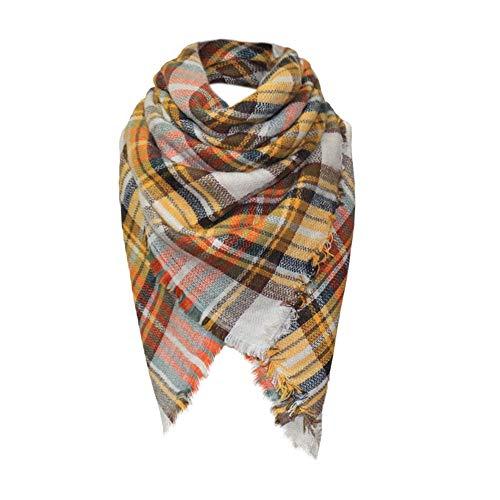 GreatestPAK Winter Damen Schal Verdickung zur Erhöhung der warmen Classic Lattice Nachahmung Kaschmirschal Plaid Decke dicken Tartan Chunky Wrap übergroßen Cape