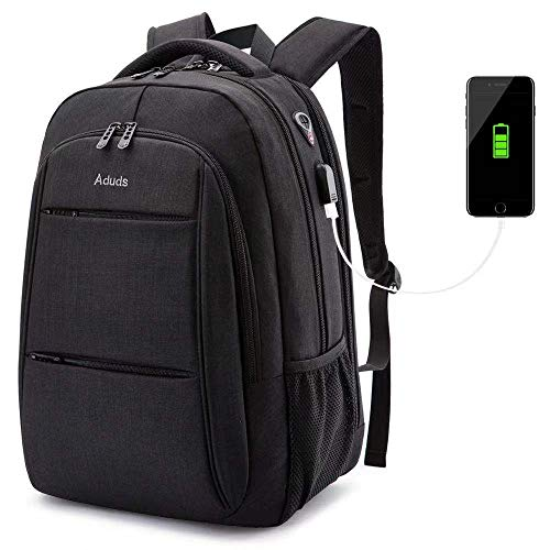 Laptop Backpack, Business Anti-Theft Ultra-Thin and Durable Travel Backpack with USB Charging Port Waterproof, University Men and Women Computer Bag Suitable for 17-inch laptops and laptops - Black