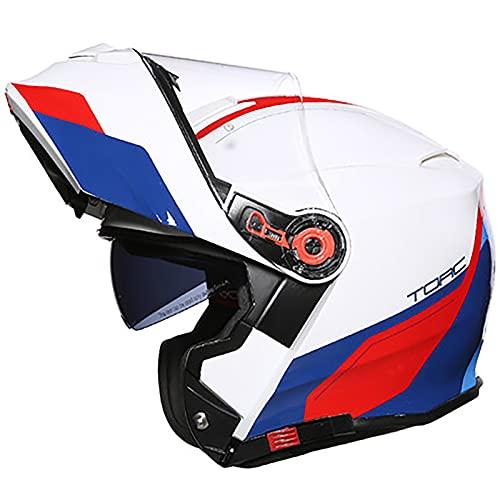 Casco Integral Para Motocicleta,Casco Modular Aprobado por el DOT,Para Ciclomotor, Bicicleta de Calle,Casco de Carreras,Para Hombres y Mujeres Casco Moto con Visera B,XXXL=63~64cm