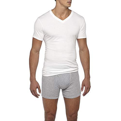 Gildan Men's V-Neck T-Shirts 6 Pack, White, Large