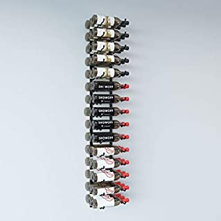 VintageView Wall Series- 15 Bottle Wall Mounted Wine Bottle Rack (Satin Black) Stylish Modern Wine Storage with Label Forward Design