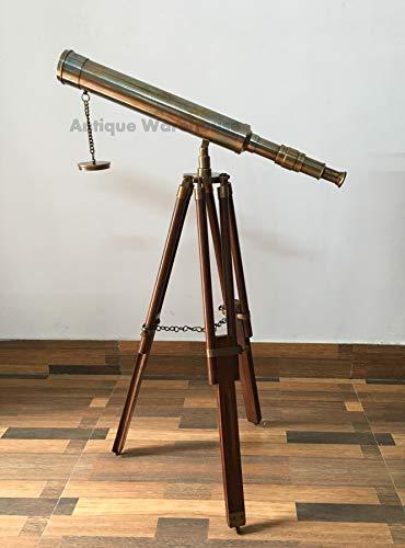 Home - Telescopio náutico de latón con trípode de madera
