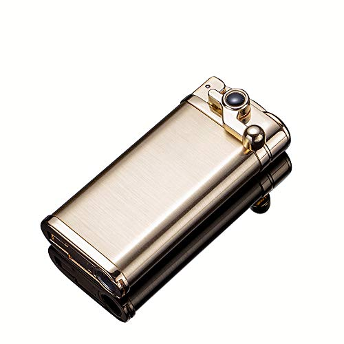Torch Lighter Jet Flame Refillable Butane Windproof Portable Lighter with Adjustable Flame Dial Retro Rocker Arm Lighter Good for Cigar Cigarette Candle Pipe (Gold)