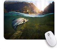 EILANNAマウスパッド レイクグリーンマウンテンの松林で泳ぐ大きな魚 ゲーミング オフィス最適 おしゃれ 防水 耐久性が良い 滑り止めゴム底 ゲーミングなど適用 用ノートブックコンピュータマウスマット