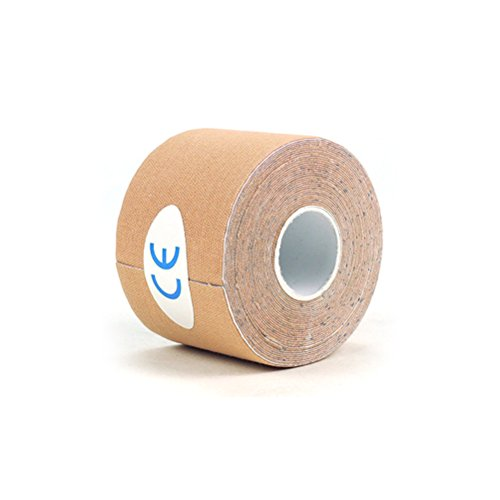 ROSENICE Kinesiologie Tape Sport Muskel Tape Wasserdichte Bandage für Sport Physiotherapie 2,5 cm x 5 m (Hautfarbe)