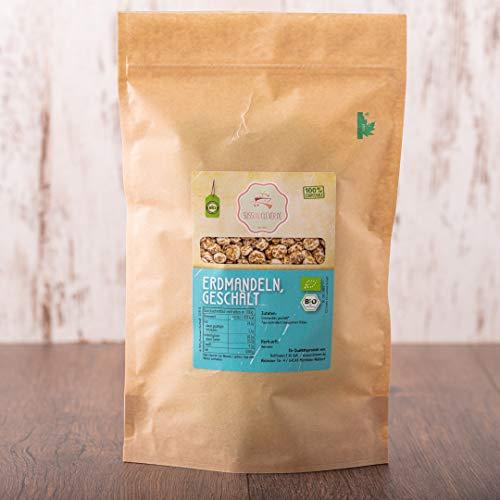süssundclever.de® Bio Erdmandeln, geschält | 1 kg | Premium Qualität | 100% naturbelassen | plastikfrei und ökologisch-nachhaltig abgepackt | ganze Erdmandeln