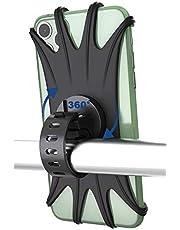 Pampel Soporte Movil Bici, Universal 360°Rotación Anti Vibración Prevención de Caída Silicona Manillar Porta Móvil Moto 4.7 o 6.5 Pulgada Teléfonos