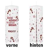 Herz & Heim® Adventskerze mit persönlichem Aufdruck - Advent Advent EIN Lichtlein brennt