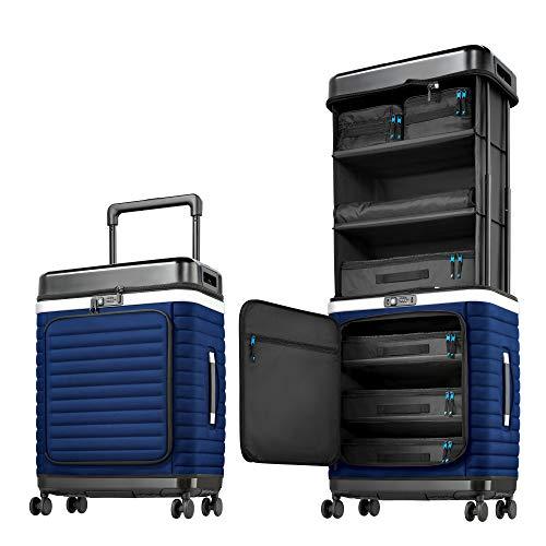 Pull Up Suitcase Estate Blue - Dein mobiler Kleiderschrank. Ausziehbarer Reisekoffer mit Fächern