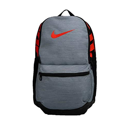 Nike Brasilia Gym School Backpack Rucksack Bag CK0932-011 Men's Boys' 24 Liters Grey Red Black