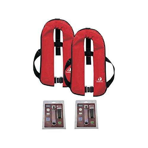 12skipper 2er-Sets Automatik-Rettungswesten 165N/300N ISO UML   versch. Varianten (Rot, 165N Harness + 2 Wartungskits)