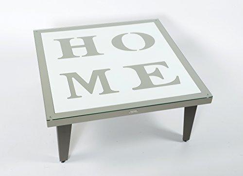 Styl'Métal 21 Table Basse Home 100x100 métal Chocolat, Taupe et Blanc